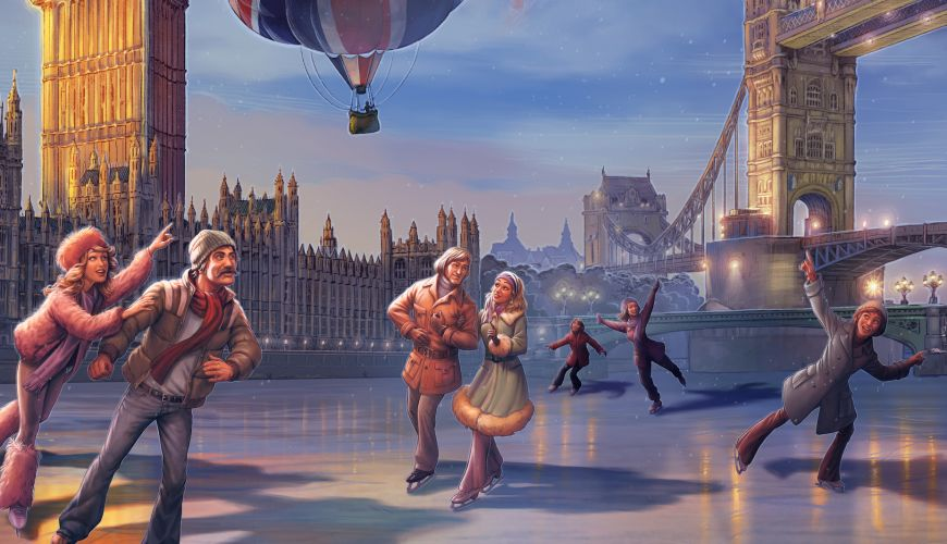 A painting of people ice skating in London