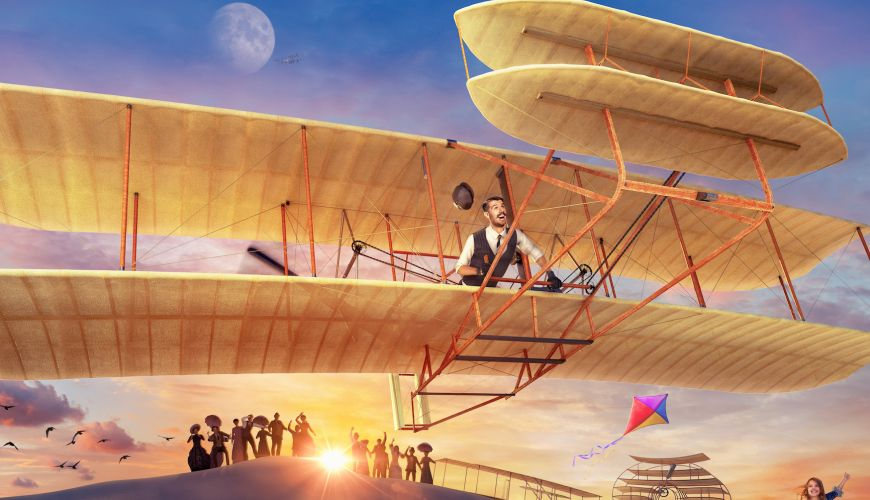 A painting of a man on a vintage-style plane